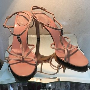 Sergio Rossi Tan Suede Strappy Sandals 37.5